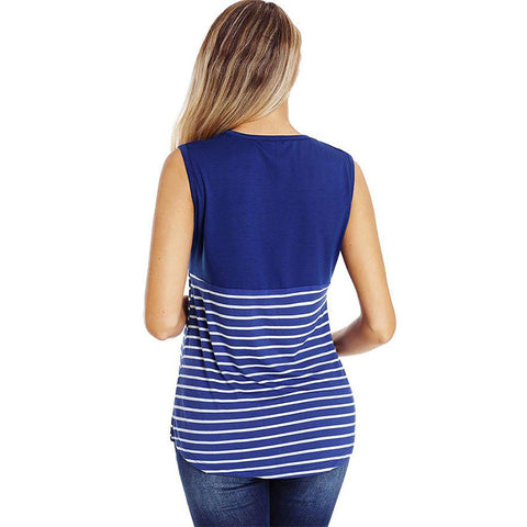 Mother Breastfeeding Stripe Sleeveless Round Neck Blouse Maternity Top | Edlpe
