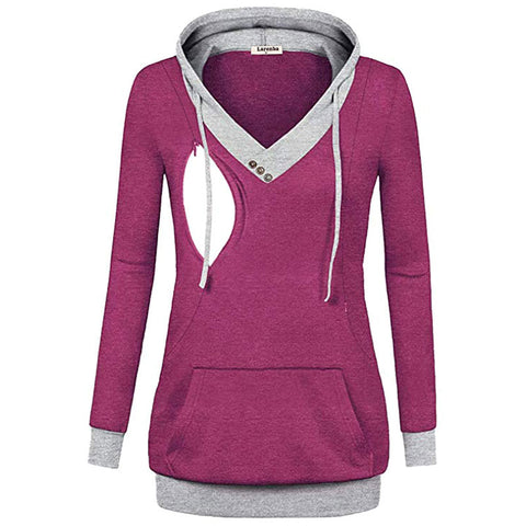 Women Maternity Nursing Hoodies Button Breastfeeding Sweatshirt Top | Edlpe