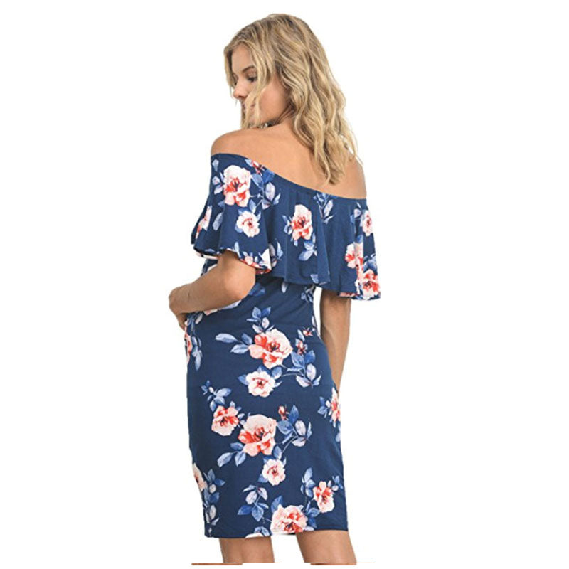 Holiday Off Shoulder Maternity Floral Pattern Flounced Bodycon Dress | Edlpe