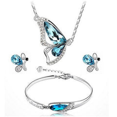 Butterfly Blue Crystal Jewelry Sets Pendant Necklace Earrings Bracelet For Wedding | Edlpe