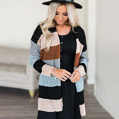Striped Knitted Sweater Long Cardigan Ladies Pocket Winter Outwear | Edlpe