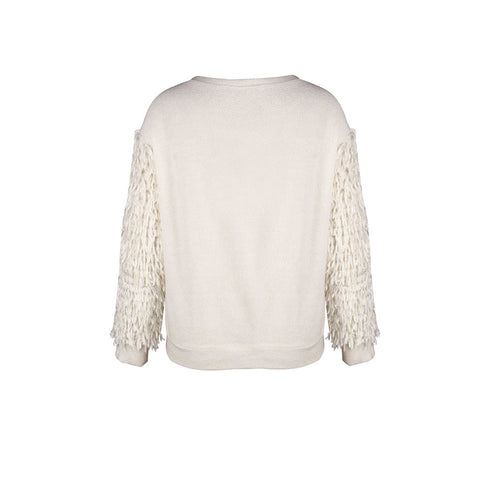 Women Fluffy Tassel Fringe Long Sleeve Jumper Sweater Crew Necks Kniting Tops | Edlpe
