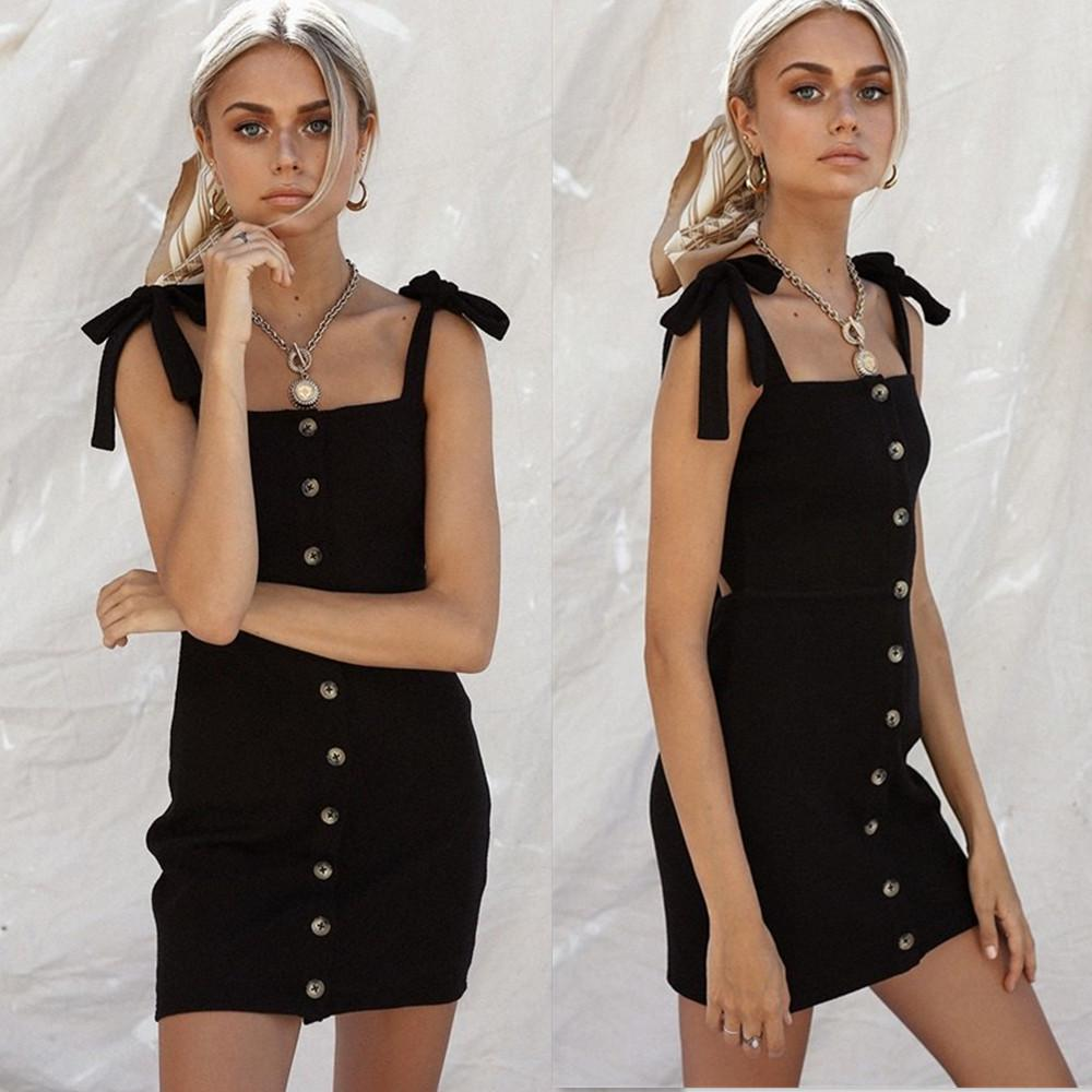Fashion Women Sleeveless Shoulder Lace Up Dress Summer Button Casual Mini Bodycon Dress | Edlpe