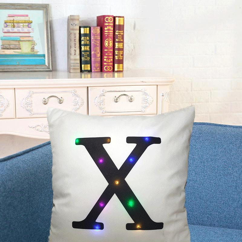 26 Letters Led Bright Throw Pillows Case Sofa Car Waist Cushion Cover Room Decor | Edlpe