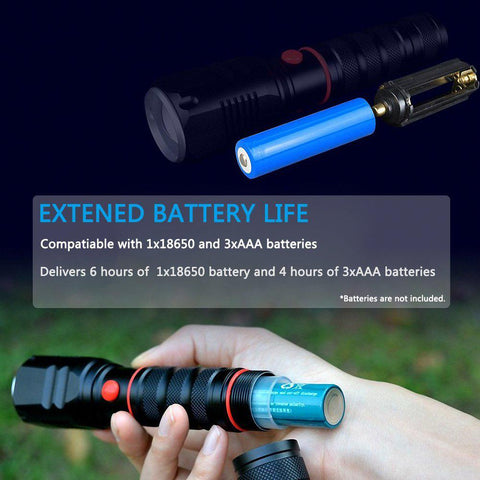 Cree Xml T6 Led Rechargeable Flashlight Zoomabletactical Torch Waterproof | Edlpe