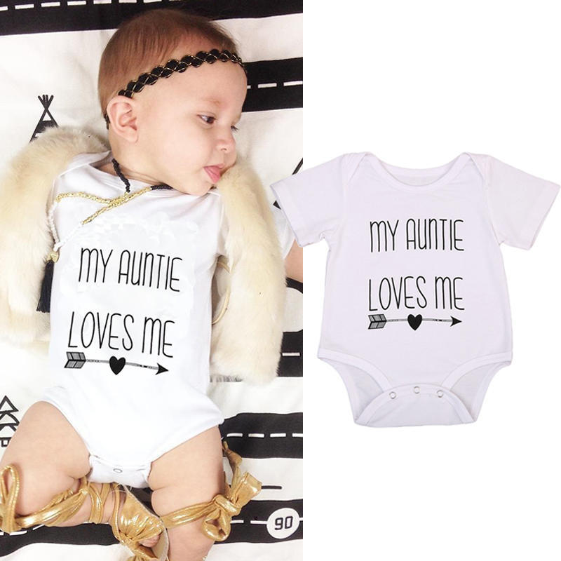 Newborn Infant Clothes Letter Print White Short Sleeve Tiny Cottons Baby Bodysuits Toddle 0-18M | Edlpe