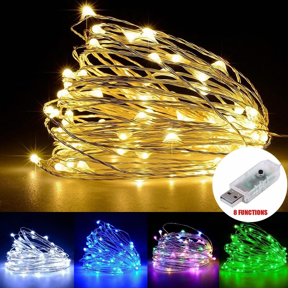 100 Leds Usb Copper Wire String Starry Decor Fairy Light Warm White Waterproof | Edlpe