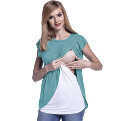 Mother Breastfeeding Chiffon Stitching Double Layer Maternity Top