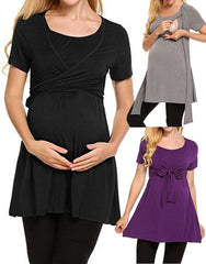 Soild Color Breastfeeding Maternity Tie Front High Waist T-Shirt dress