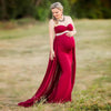 Image of Party Chiffon Maternity Off Shoulder Fishtail Flowing Hem Bodycon Maxi Dress | Edlpe