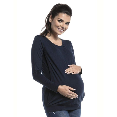 Maternity Pure Color Breastfeeding Long Sleeves Top | Edlpe