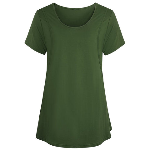 Pure Color Round Neck Breastfeeding Short Sleeves Maternity A Line T-Shirt Top | Edlpe