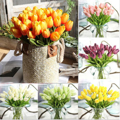 Image of PU Artificial Tulips Flowers for Home Wedding Party Decor Mother's Day Bouquet 6 Colors