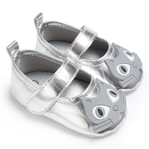 Newborn Baby Toddler Girls Cat Cute Flat Sandals Shoes Anti-Slip Leather 0-18M