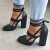 Image of Womens Pointed Toe Sandals Block High Heels Pumps Ankle Strappy Shoes