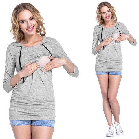 Women Long Sleeve Nursing Top Ladies Breastfeeding Hooded Jumper Plain Maternity | Edlpe