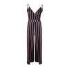 Image of Womens V Neck Backless Romper Striped Floral Playsuit Ladies Holiday Beach Dress Long Jumpsuit | Edlpe