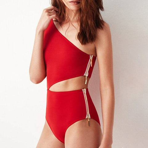 Women Sexy One Shoulder Cutout Special Design One-piece Side Zipper Swimsuit Swimwear Bathing Suit