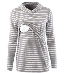Long sleeved striped Breastfeeding Hoodie tops nursing blouse