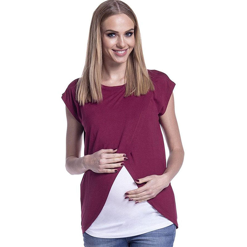Mother Breastfeeding Chiffon Stitching Double Layer Maternity Top | Edlpe