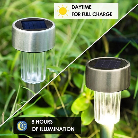 US Warehouse Delivered 7 Days 10pcs/lot Stainless Steel Solar Lawn Light For Garden Decorative Lamp Solar Power Outdoor Landscape Path Lawn Pathway Lighting