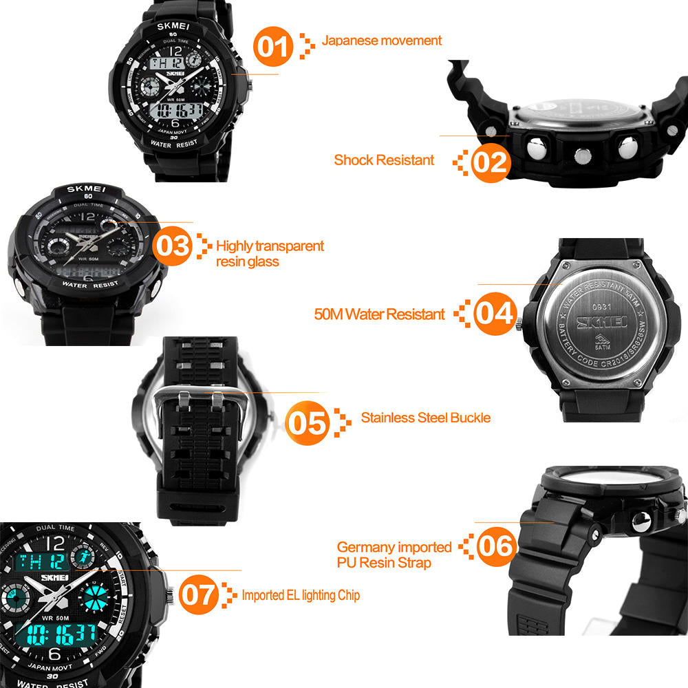 Men Women Kid Waterproof Sports Watch Led Military Quartz Digital Wristwatch | Edlpe
