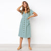 Image of Womens V Neck Holiday Solid Dress Summer Beach Button Pocket Midi Swing Sundress | Edlpe
