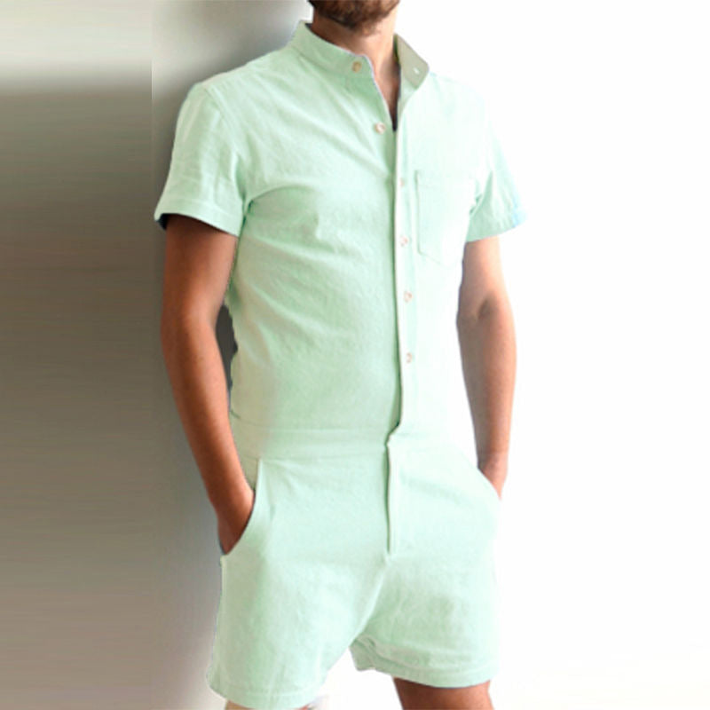 Men Summer Casual Short Sleeve Jumpsuit Short Trouser Pant Rompers Slim Straight | Edlpe