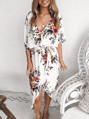 Plus Size Women V Neck Floral Printed Short Sleeve Dress Summer Split Asymmetric Beach Sundress
