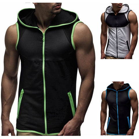 Mens Sleeveless Hoodie Sports Fitness Gym Vest Sweatshirt Zip Up Tank Tops Size | Edlpe