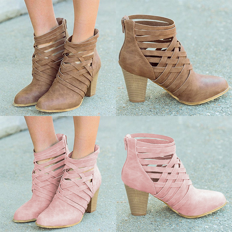 Womens Ankle Boots Chunky Mid Heel Summer Booties Zipper Sandals Shoes Size | Edlpe