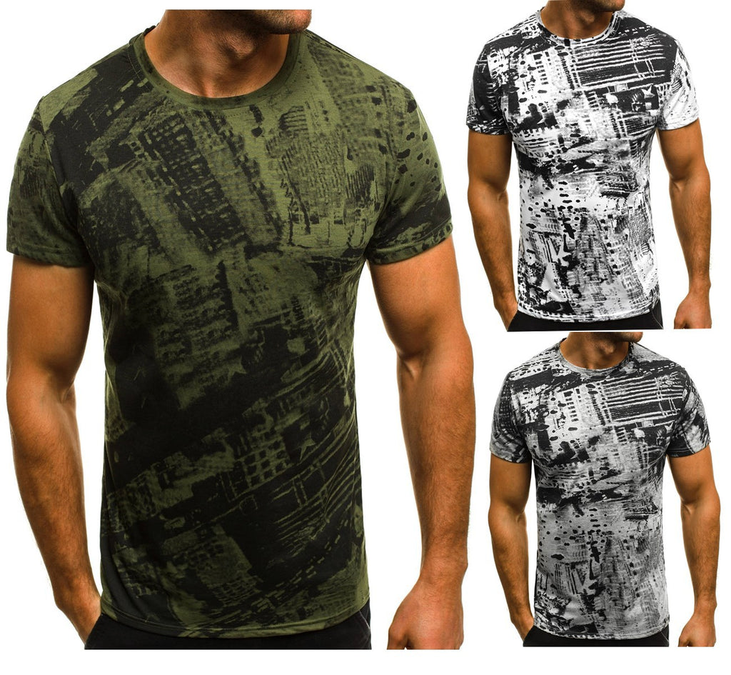 Fashion Summer Short Sleeve Camouflage Print T-Shirt O Neck Casual Slim Fit Tee Tops L-3Xl | Edlpe