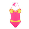 Image of Women Sexy Bandage Halter Flounce Backless One Piece Swimsuit Swimwear | Edlpe