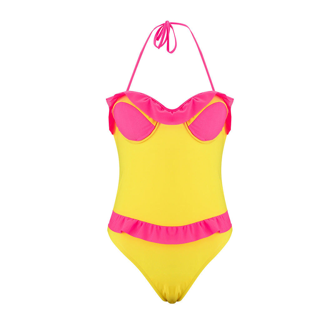 Women Sexy Bandage Halter Flounce Backless One Piece Swimsuit Swimwear | Edlpe