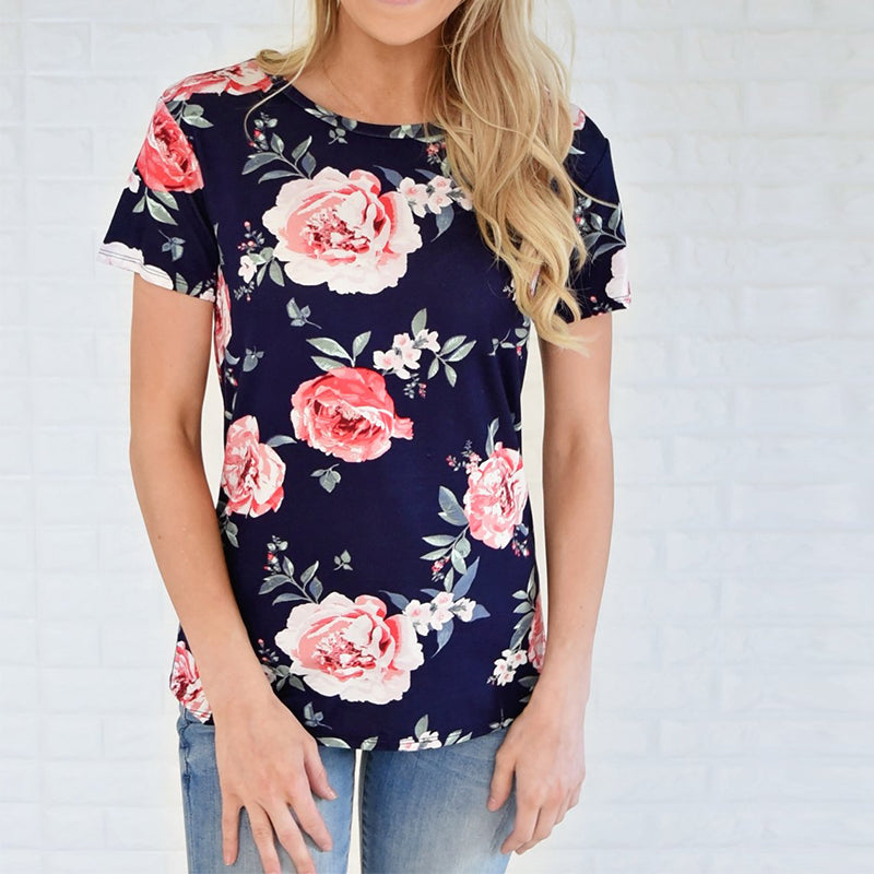 Women Floral Print Short Sleeve Tops Casual Blouse Shirt | Edlpe
