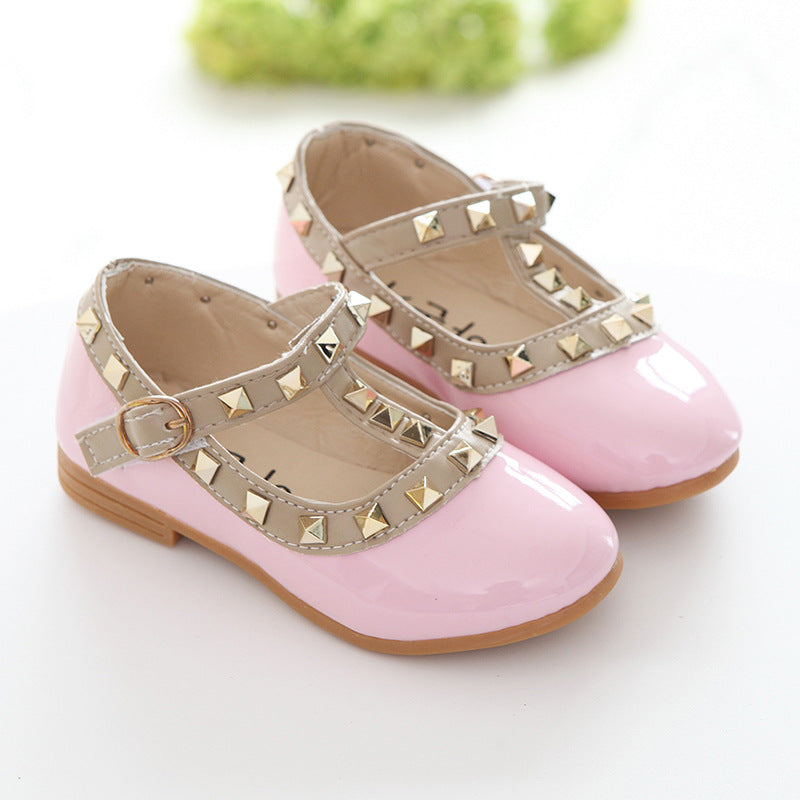 Girls Kids Slip On Rivet T-Strap Flats Toddler Sandals Casual Pointed Toe Shoes | Edlpe