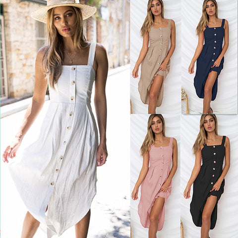 Womens Holiday Strappy Button Solid Ladies Summer Beach Midi Swing Sun Dress | Edlpe