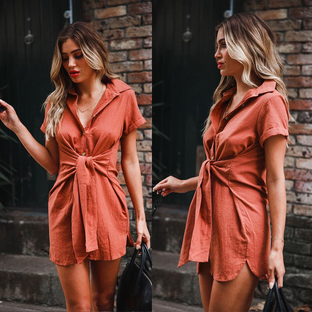 Plus Size Women Short Sleeve Lace Up Waist Button Shirts Mini Dress Casual Long Tops | Edlpe
