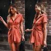 Image of Plus Size Women Short Sleeve Lace Up Waist Button Shirts Mini Dress Casual Long Tops | Edlpe