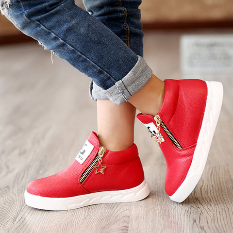 Kids Girls Boys Ankle Boots Shoes Toddler Trainers Side Zipper Fashion Shoes | Edlpe