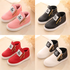 KIDS GIRLS BOYS ANKLE BOOTS SHOES TODDLER TRAINERS SIDE ZIPPER FASHION SHOES