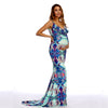 Image of Bohemian Maternity Sling Ruffled Hem Slimming Fishtail Maxi Dress | Edlpe