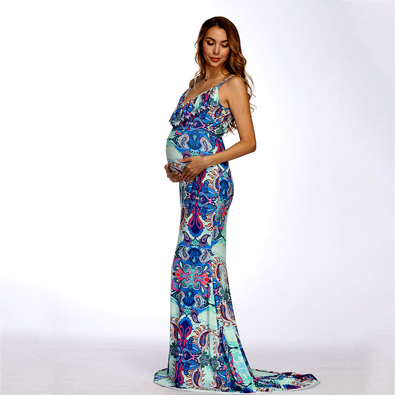 Bohemian Maternity Sling Ruffled Hem Slimming Fishtail Maxi Dress | Edlpe