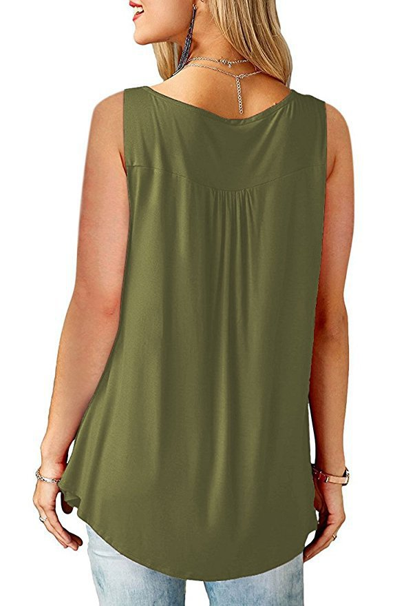 Casual V-Neck Button Front Soild Color Loose Vest Top | Edlpe