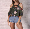 Image of Women Floral Cold Shoulder Tops T Shirt V Neck Short Sleeve Summer Top Blouse | Edlpe