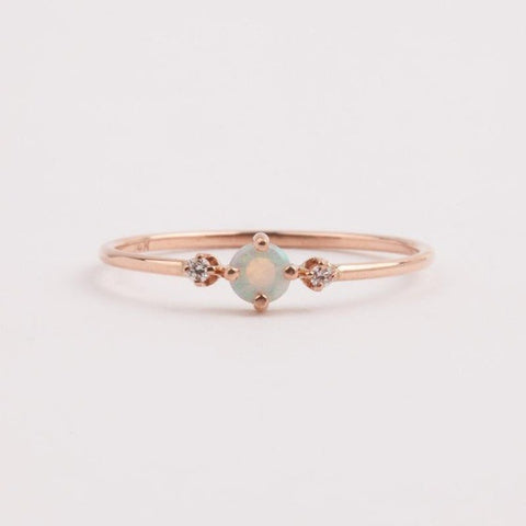 Rose Gold Ring Round White Opal White Sapphire Jewelry Gift Engagement | Edlpe