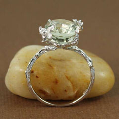 Women Natural Emerald Diamonds Engagement Topaz Vintage Ring Gift