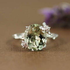 Women Natural Emerald Diamonds Engagement Topaz Vintage Ring Gift | Edlpe
