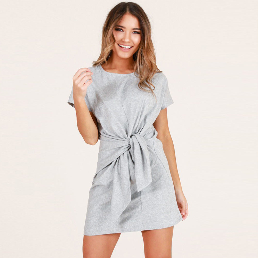 Women Short Sleeve Bow Knot Party Crew Neck Bodycon Summer Beach T-Shirt Dress | Edlpe