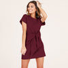 Image of Women Short Sleeve Bow Knot Party Crew Neck Bodycon Summer Beach T-Shirt Dress | Edlpe